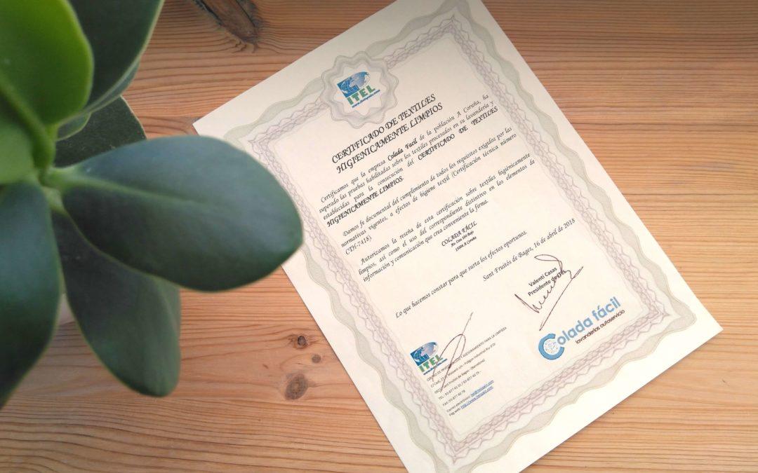 Certificado de textiles higiénicamente limpios